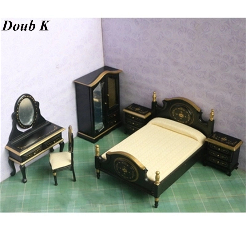 Doub K 1:12 Wooden Dollhouse Furniture toy simulation Miniature bed Bedroom dolls house Accessories pretend play toys for girls cutebee pretend play furniture toys wooden dollhouse furniture miniature toy set doll house toys for children kids toy