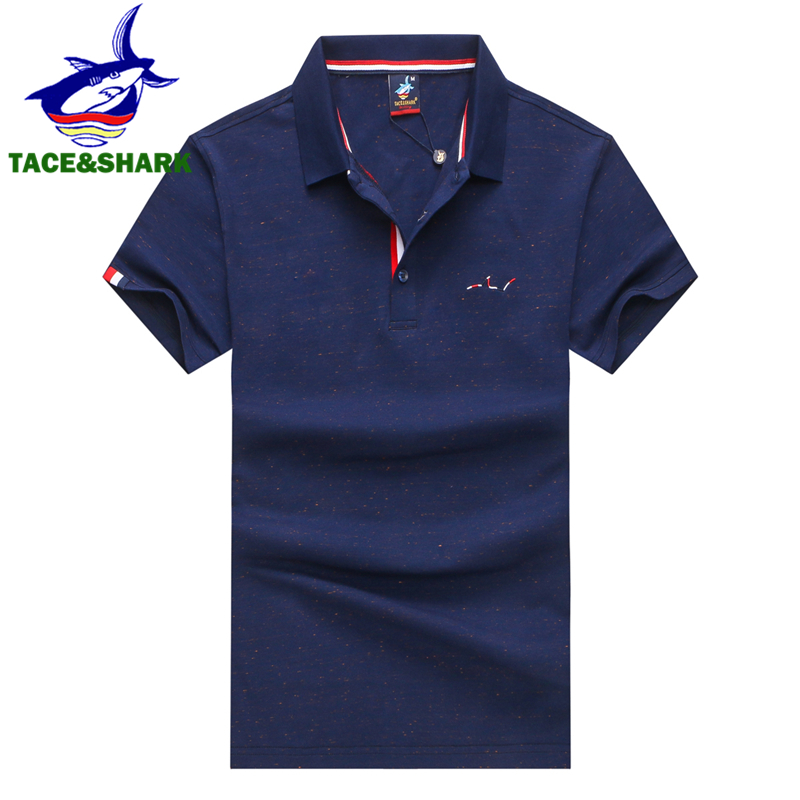 TACE&SHARK Brand Camisa Masculina Fashion Men Red   Polo   Shirt Business Casual Solid Color Male Short Sleeve   Polos   Shirt Homme