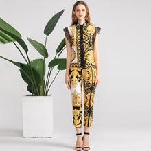 European style vintage sleeves Shirts+pencil pants 2pieces set 2019 summer elegant retro print womens pantsuit A335