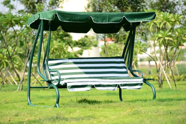 Outsunny covered outdoor porch swing bed hammock outdoor sleeping leisure chair with cushion