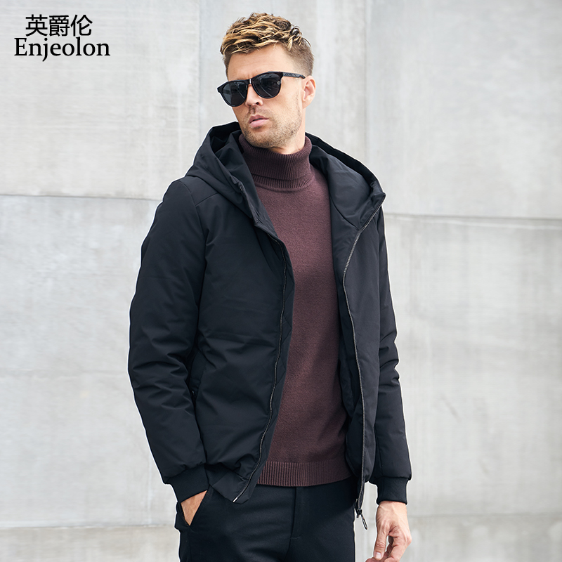 Enjeolon Brand winter Cotton hoodies Jacket Men cool hooded   Parka   coat black Thick Quilted jacket Coat 3XL Men MF0051