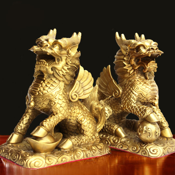 feng shui set of two golden brass chi lin kylin wealth prosperity statue in figurines. Black Bedroom Furniture Sets. Home Design Ideas