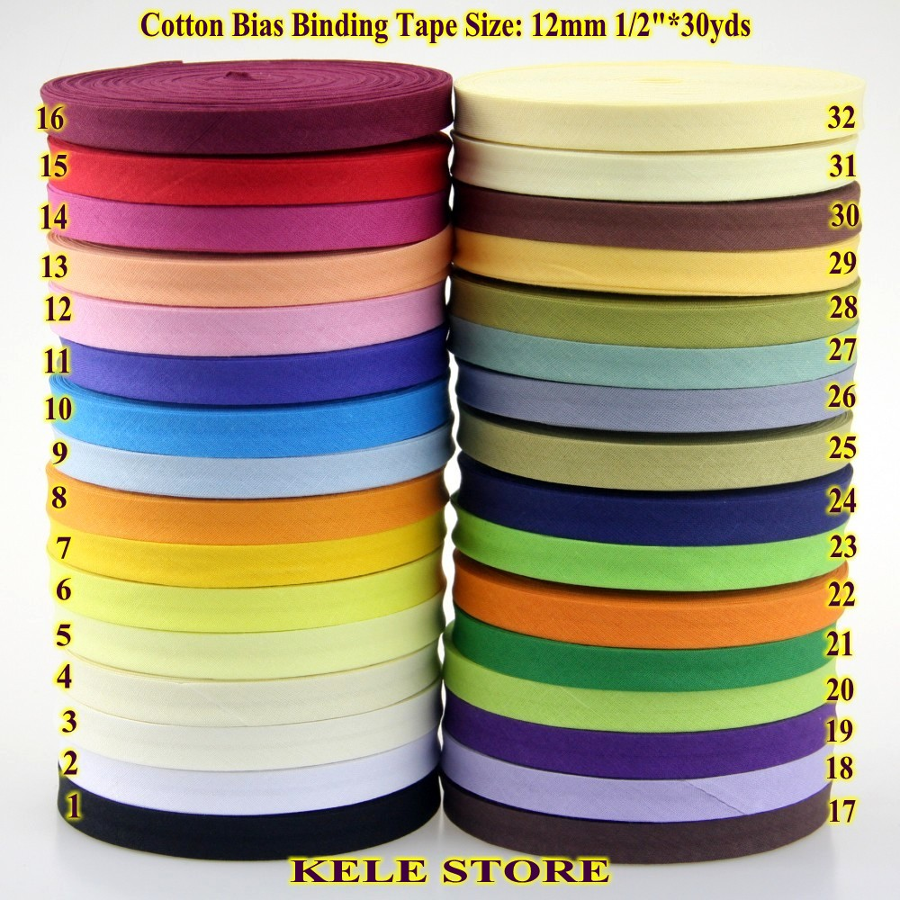 Free shipping–100% Cotton Bias binding tape, the narrowest the least size:12mm,width:1/2″,30yds DIY handmade sewning material