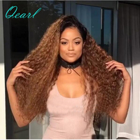 Qearl Hair Ombre Two Tone 1b/30 180% Density Full Lace Human Hair Wigs for Black Women Remy Hair Dark Roots Kinky Curly Lace Wig