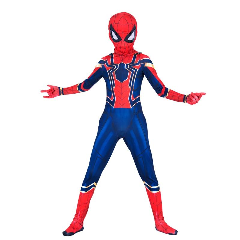 New Child Boys Lycra Spandex Iron Spiderman Avengers Infinity War Kids 2018 Spider-Man Jumpsuit Halloween Party Cosplay Costume