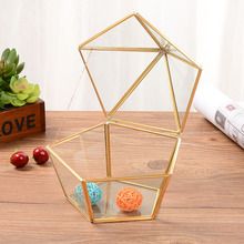 Nordic Geometric Transparent Glass Flower Room Ring Box Wedding Jewelry gold Cover Innovative Home Decor