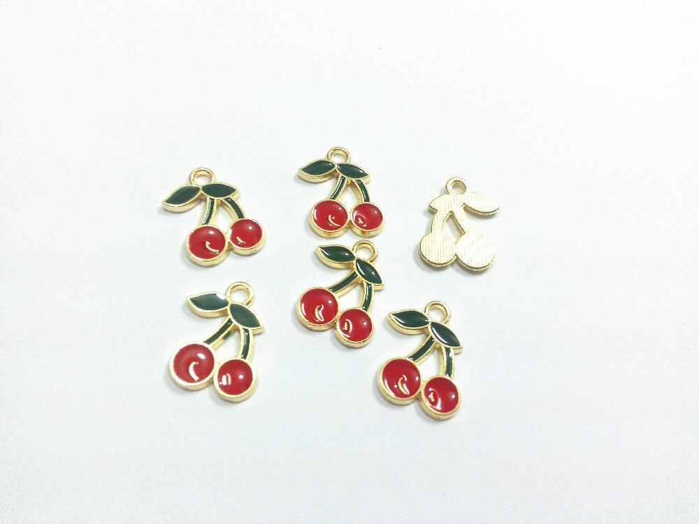 Wholesale 18mm*13mm 30pcs/lot Gold All Enamel Cherry Charms Pendants
