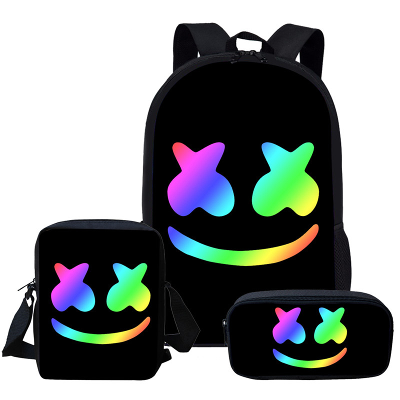 2019 Hot Sale Black Marshmello School Bag Set For Teen Boys Girls Cute Student Kids Schoolbag Cool Primary Children Bookbag Gift(China)
