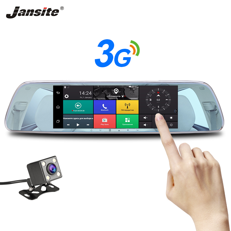 Jansite 3G 7 Touch Screen Dash Cam Android 5.0 Car DVR Backup Camera GPS navigation Car Video Recorder Rear view camera Mirror