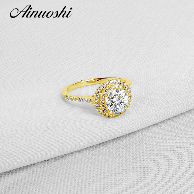 Aliexpress Com Buy Ainuoshi 10k Solid Yellow Gold Wedding Rings
