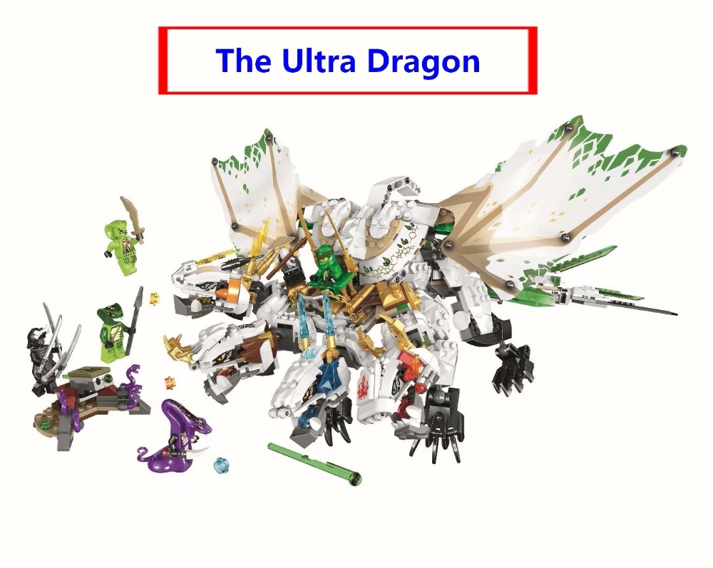 Ninja The Ultra Dragon Movie Flying mecha dragon Transformation DIY Building Block Sets Compatible With lego Ninjagoe 70679 toys rysunek kolorowy motyle