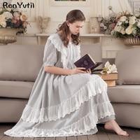 RenYvtil Victorian vintage ruffled long nightgown sweet princess cotton homewear lace soft sleepwear sleepshirts