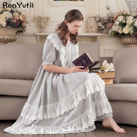 RenYvtil Victorian vintage ruffled long nightgown sweet princess cotton homewear lace soft sleepwear sleepshirts