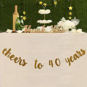 Image 5 - Golden Glitter Cheers To 30 40 50 60 70 Years English Letter String Flag Birthday Party Banner Wedding Party Supplies Ornament
