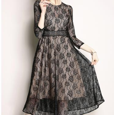 TUHAO high quality Graceful Lace Dress 2018 Summer Women high street Dresses Female elegant Evening Party office lady Dress HJ22 ...