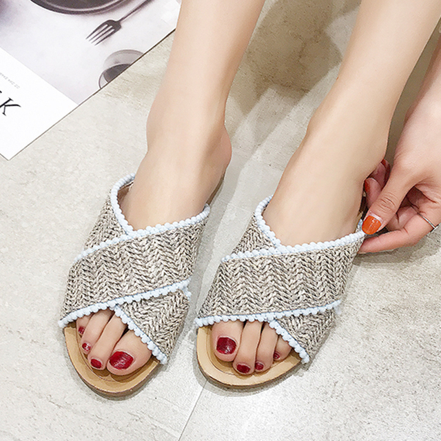 2019 Weave Slippers Women Summer Shoes Woman Casual Ladies Flat Home Indoor Slippers Slides Women flip flops pantufa tong femme 3