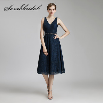 Navy Blue Lace Prom Dresses V Neck  Backless Short Party Evening Gowns with Beaded Sash Tea Length A Line LX514