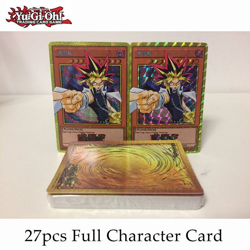 27pcs/set YuGiOh! Game King's First Generation Character Flash Card Plaid Gauze Flash Collection Children's Toy Gift image