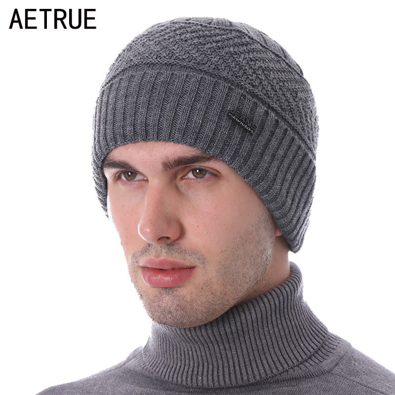 AETRUE Winter Knitted Hat Skullies Beanies Men Scarf Caps Male Women Mask Gorras Bonnet Warm Ski Winter Hats For Men Beanie Hat