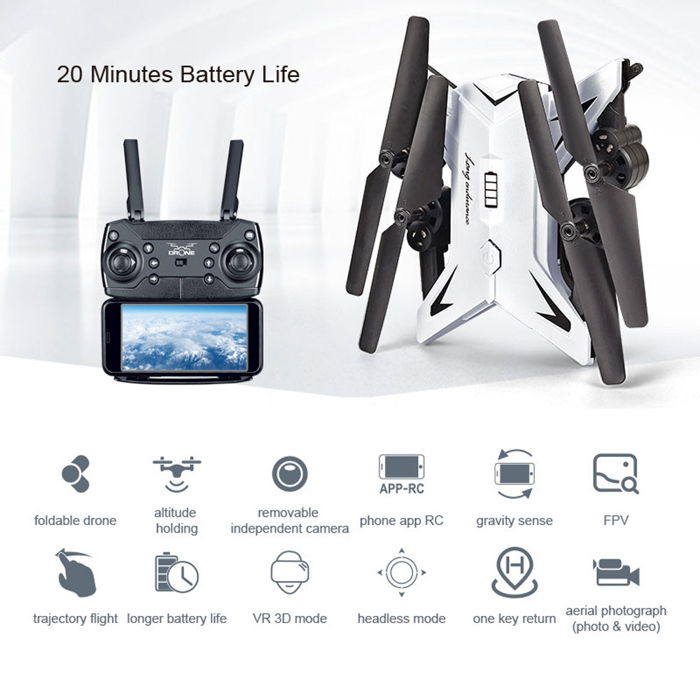 601S 1080P 5MP Quadcopter With Camera Foldable WIFI FPV Drone 20Min Flying 6-axis 4CH RC Helicopter Selfie Drones With Camera HD 32