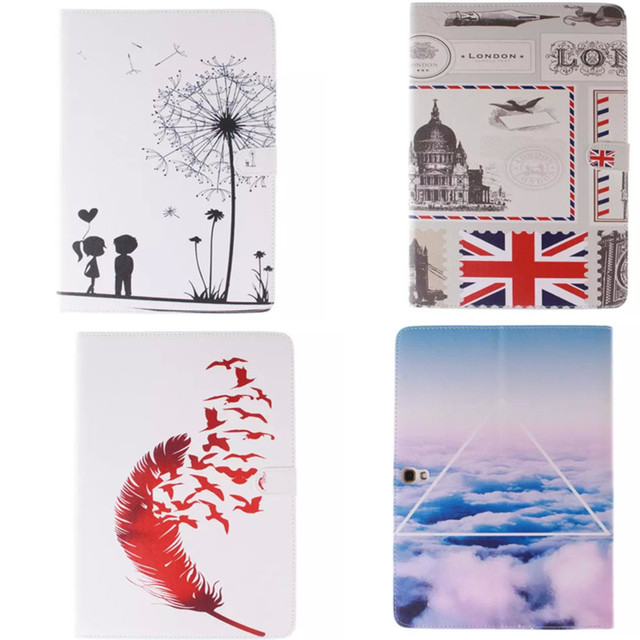 Cute Painted PU Leather+TPU Shell case Stand Function PU Leather Cover for Samsung Galaxy Tab S 10.5 inch T800 SM-T805 T805C