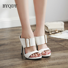 BYQDY Fashion Women Summer Sandals Sexy Buckle Thin Heels Shoes Slingback Size 35-40 Black Big Promotion
