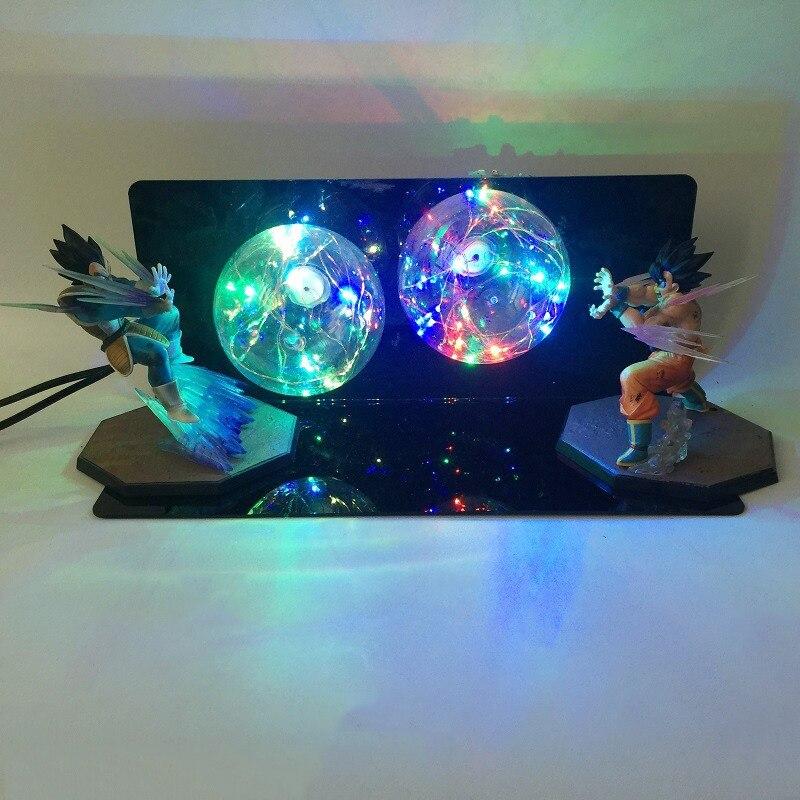 Whole Set DBZ Vegeta Son Goku Super Saiyan Red Blue Bulb Night Light Anime Dragon Ball Z Holiday Decor Lights EU US 110V 220V