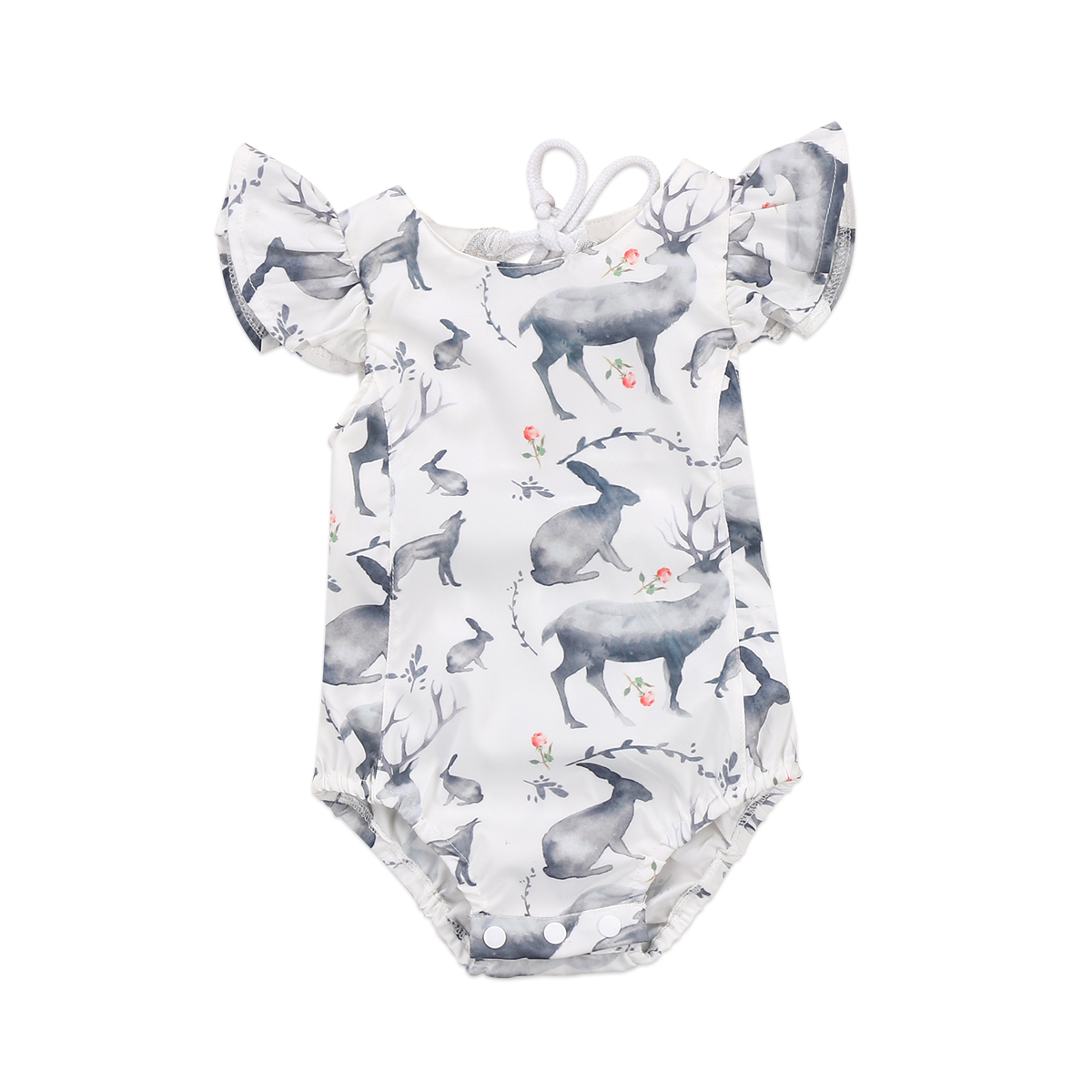 Newborn Baby Girl Clothing Deer Ruffles Romper Sleeveless Backless Jumpsuit Outfits Sunsuit 0-24M 0 24m floral baby girl clothes set 2017 summer sleeveless ruffles crop tops baby bloomers shorts 2pcs outfits children sunsuit