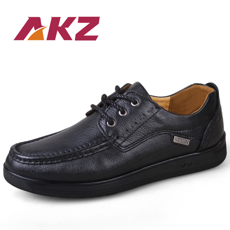 AKZ Brand High quality real leather Male Business Shoes 2018 New Spring classic Mens Casual Shoes Soft comfortable Big size38-48 aadct spring new travel children shoes low cut casual boys running shoes real leather kids shoes for little girls brand