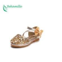 Bekamille Nuovi Bambini scarpe in pelle di moda principessa Delle Ragazze  Paillettes Colore Solido scarpe Arco Autunno ragazze D.. 88d5c055825