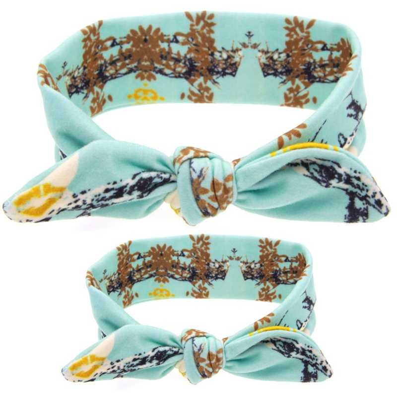 2 ピース/セットママ子供ウサギの耳のヘアバンドの装飾品ネクタイ弓女性ヘッドバンドストレッチノット綿ヘッド子ヘアアクセサリー