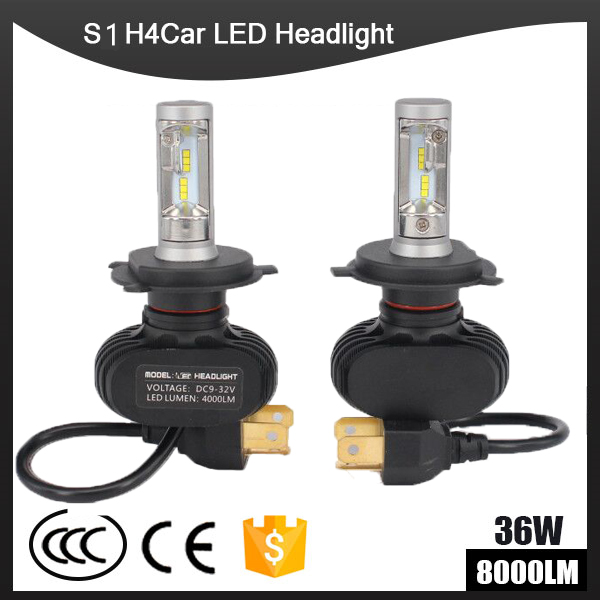 S1 CSP Led Headlights H1 H3 H4 H7 H11 H13 9005 9006 LED Car Headlight Bulb Hi Lo Beam 72W 8000LM 6500K Auto Led Headlamp 12v 24v
