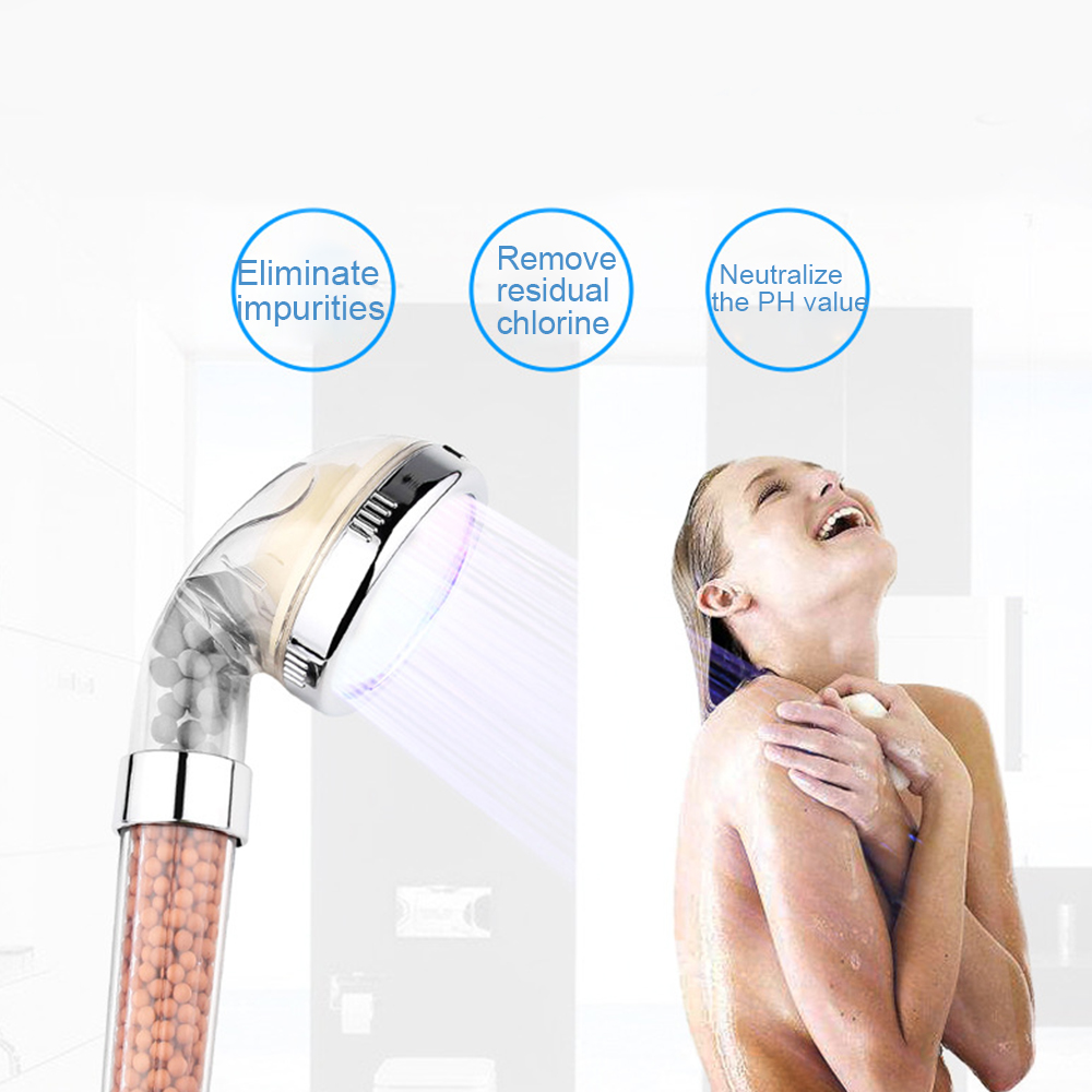 Light Treatment Shower LED Negative Ion Shower Pressure Water Temperature Control 3colors or Colorful Handheld Nozzle