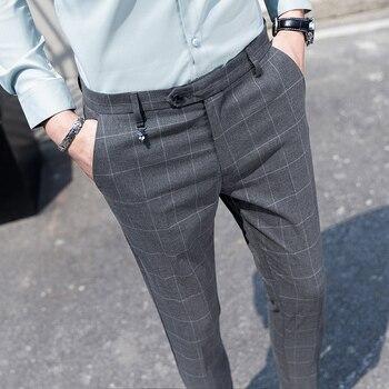 Youth Gentleman Slim Fit Plaid Dress Pants Men's Fashion