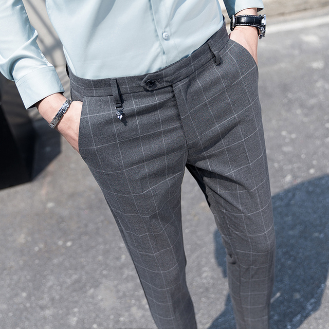 332c5f283aa2 Summer New Youth Gentleman Slim Fit Plaid Dress Pants Men s Fashion  Business Casual Simple Wild British Style Suit Trousers Man