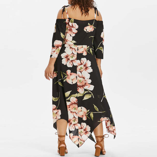 Women Plus Size Dresses Summer Lace Up Maxi Flowing Floral Print Dress  Sundress Party Dress Vestidos ropa mujer XL-5XL