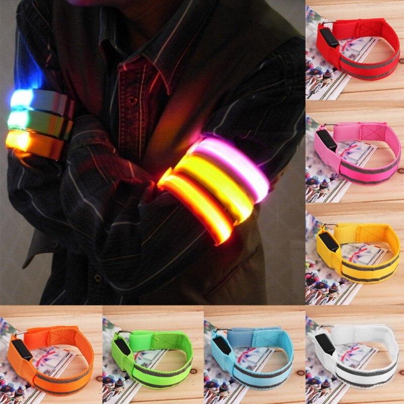 Arm Warmer Belt Bike LED Strap Snap Wrap Arm Band Armband LED Safety Sports Reflective Belt  Dropshipping 2018 Hot