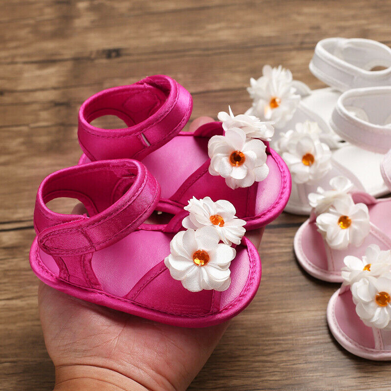 Cute Baby Girls Toddler Hairband Headband Flower Non-Slip Sandals Shoes 0-18M