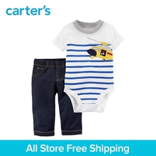 Carter s 2 Piece baby children kids clothing Boy Summer Cotton Bodysuit Pant Set 121I101