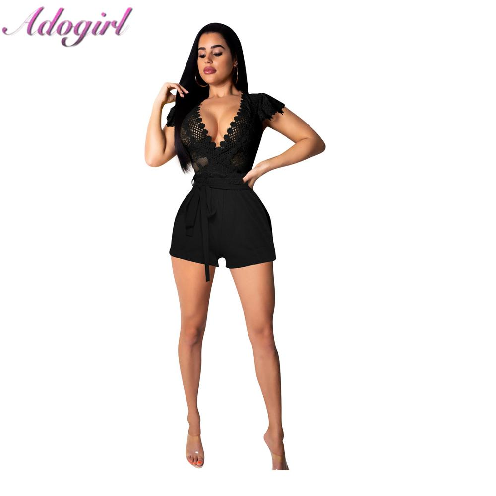 Sexy Sheer Partchwork Lace Party Club Jumpsuit Casual Short Sleeve Hollow Out Outfit Rompers Office Lady Overalls Short Playsuit