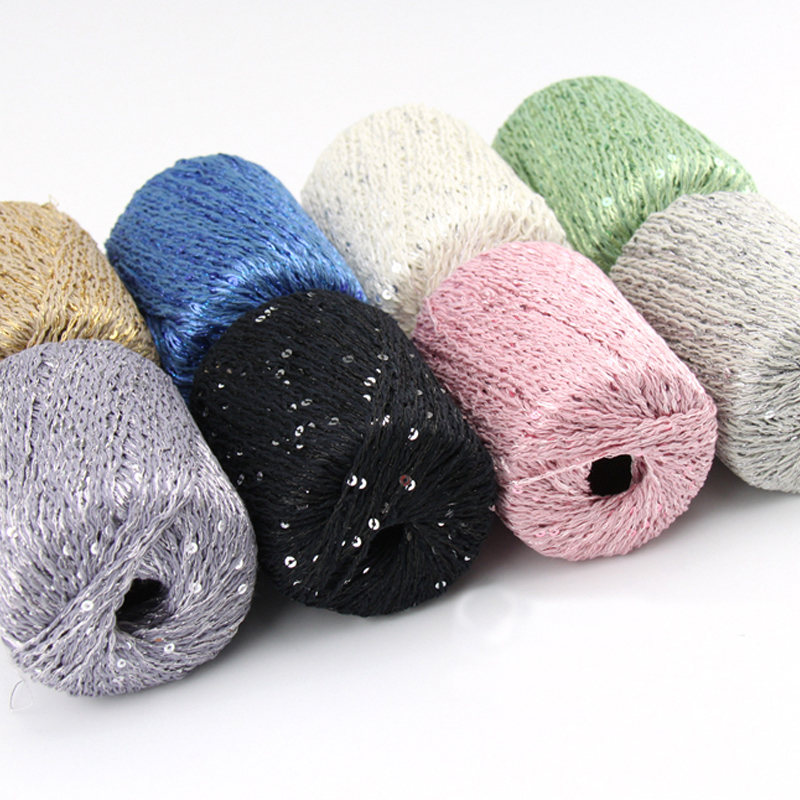 10 pieces yarn for hand knitting beautiful sequins sale. Black Bedroom Furniture Sets. Home Design Ideas