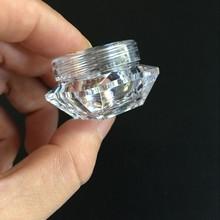 100 יח\חבילה 5g שקוף פלסטיק צנצנות קרם צנצנות יהלומי צורת מדגם בקבוק 5ML 0.17OZ ריק בקבוקי קוסמטיקה מיכל BOT01