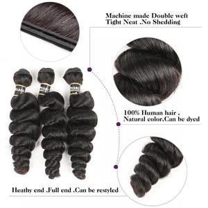 Image 3 - Blackpearl บาทรวมกับ Non Remy Human Hair 3 รวมกลุ่มกับการปิด 1B # หลวมคลื่นปิด
