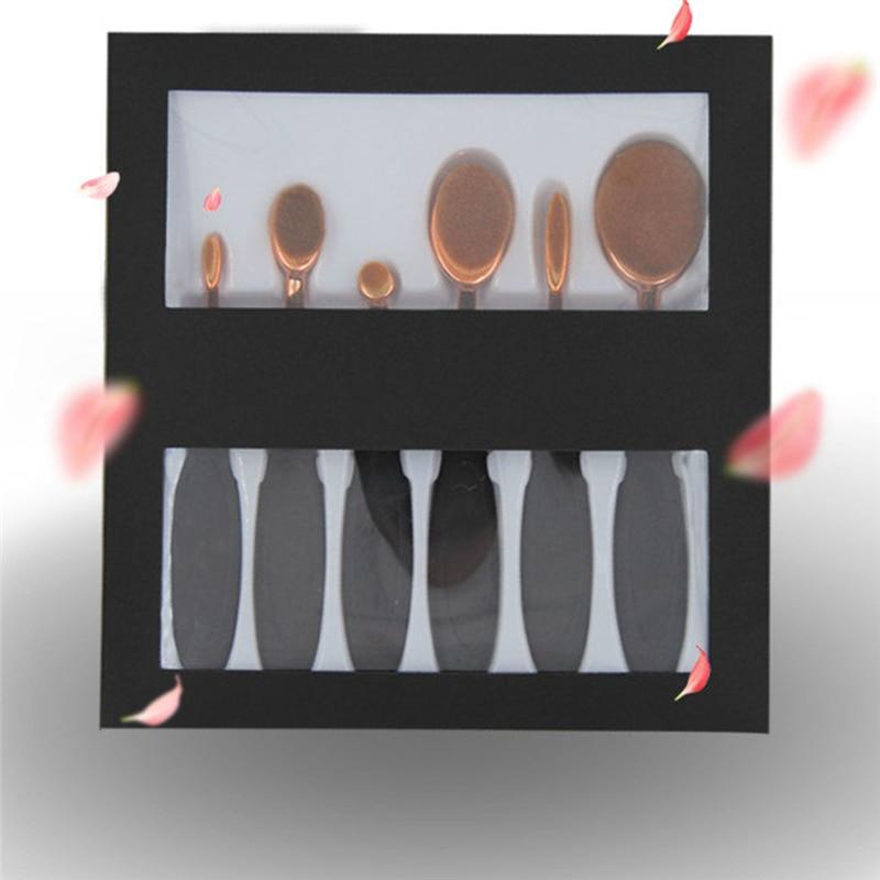 6Pcs Oval Toothbrush Makeup Brushes Set Pro Foundation Powder Blush Concealer Brush Kits Eyeshadow Eyeliner Lips Brush With Box