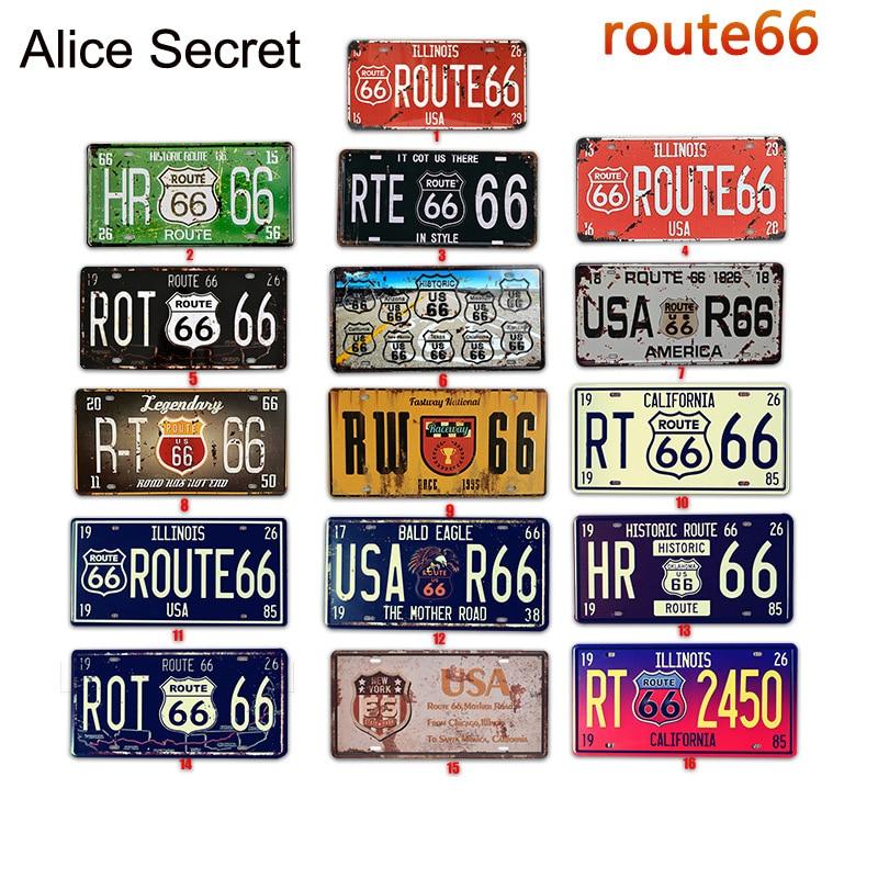 Car No. Metal Plate Vintage USA Decor Route 66 Tin Sign Bar Pub Garage Metal Signs Decorative Metal Art Bar Metal Plaque 15x30cm