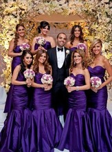 2016 Cheap Hot Selling Sweetheart Bridesmaid Dresses Taffeta Mermaid Purple Party Dresses Backless Gowns
