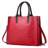 Womens Leather Handbags Large Capacity Vintage Top Handle Bags Solid Tote Shoulder Bags
