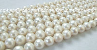 wholesale5pcs 9 10MM white round freshwater pearl bead 14.5INCH