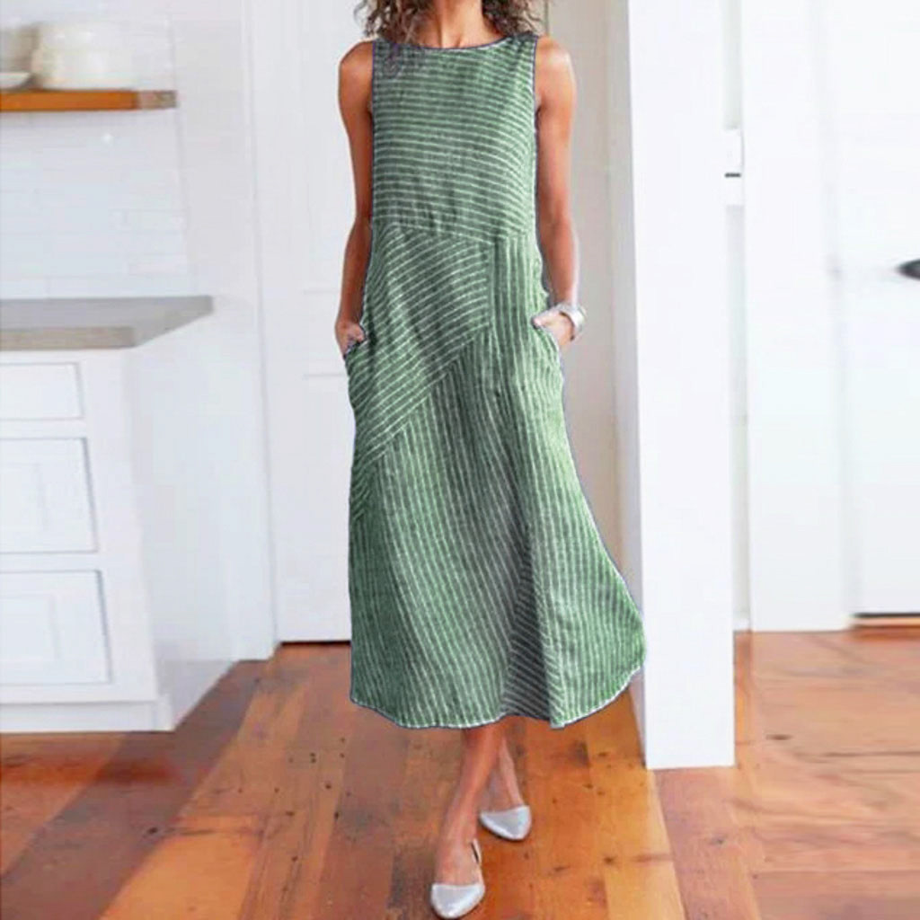 HTB15ybEXq1s3KVjSZFAq6x ZXXaK - Women Summer Dress Casual Striped Sleeveless Maxi Dress Crew Neck Linen Pocket Party Long Dresses