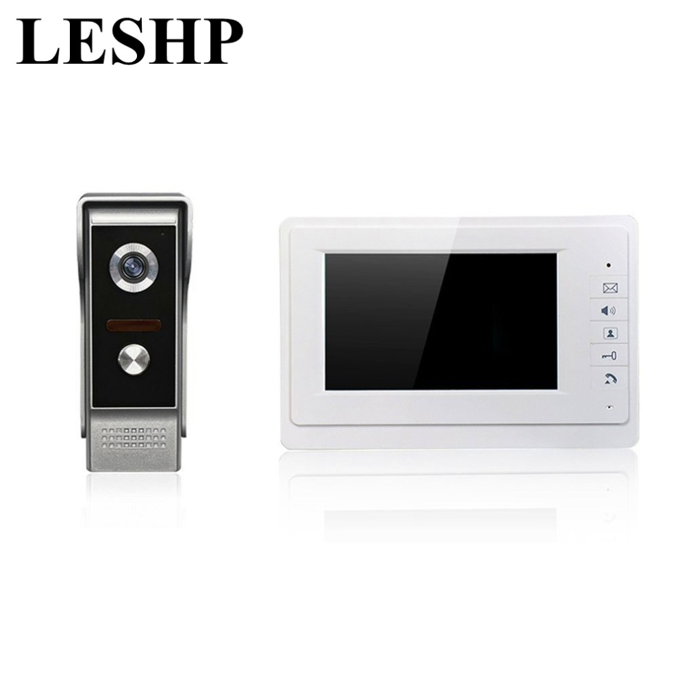 LESHP XSL-V70Rm-M1 Wired Visual Doorbell 7 Inch LCD Video Monitor Door Phone Intercom System Door Release Unlock Doorbell Camera v70h l 1v1 xsl manufacturer 7 inch color water proof video door phone system and audio intercom door phone for villa